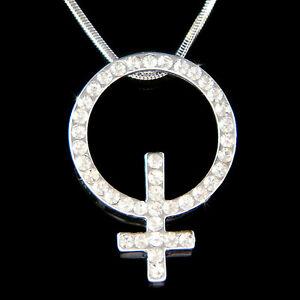 【送料無料】アクセサリー ネックレス メススワロフスキークリスタルシンボルアイデンティティネックレス~ femminile insegna fatto con swarovski cristallo simbolo venus identity collana