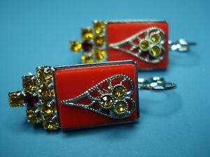 【送料無料】アクセサリー ネックレス レッドゴールドシルバーイヤリングtesoro trachtencuoreorecchini in rosso oro argento colorate ornament tradizione amore