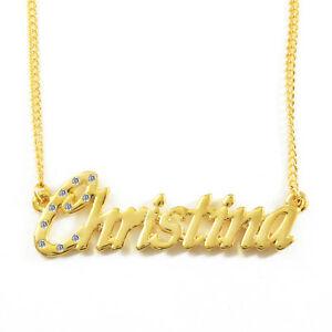 【送料無料】アクセサリー ネックレス ネームネックレスクリスマスnome collana christina 18ct placcato oroalta qualit regali di natale