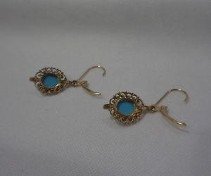 ネックレス ターコイズファンシードロップイヤリングイエローゴールドグラムturquoise fancy drop earrings 14ct yellow gold  length 30 mm  30 gram