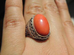 【送料無料】ネックレス ビンテージカボションリングサイズvintage chinese silver salmon coral cabochon ring size 6