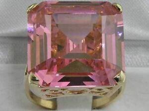 【送料無料】ネックレス ソリッドゴールドスクエアオクタゴンピンクサファイアリングカットluxury solid 9ct gold huge heavy square octagon cut synthetic pink sapphire ring