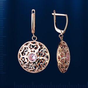 【送料無料】ネックレス ロシアローズゴールドイヤリングrussian rose gold 14k 585 filigree dangle earrings with cz nwt stunning 508 g