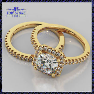 【送料無料】ネックレス ラウンドハローブライダルセットkイエローゴールド150ct round vvs1d halo bridal set brilliant engagement ring14k yellow gold