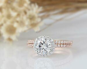 【送料無料】ネックレス クラシックラウンドカットハローリングローズゴールド140 tcw classic round cut halo bridal wedding ring set in white amp; rose gold