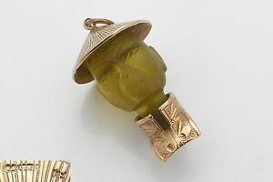 【送料無料】ネックレス rare vintage hm 9ct solid goldjade 3d chinaman 1451 charm grare vintage hm 9ct solid gold and jade 3d chinaman charm 1451