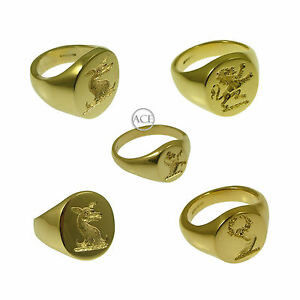 【送料無料】ネックレス イエローゴールドリングソリッド9ct yellow gold your family crest rings oval signet rings 375 fully uk hm solid