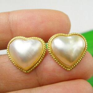 【送料無料】ネックレス 18x16mmオーストラリアマベパールピアスイヤリング750 18kイェローゴールドheart 18x16mm australia mabe pearl stud earrings genuine 750 18k yellow gold