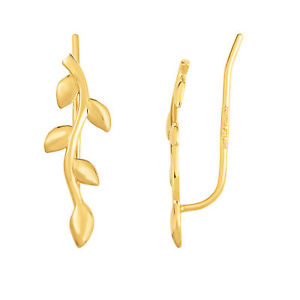 14K Yellow Gold Olive Tree Branch Climber Earrings