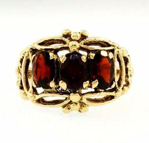 【送料無料】ネックレス ヴィンテージイエローゴールドガーネットctリングサイズvintage 9ct yellow gold fancy garnet125ct threestone ring size l 12mm wide
