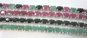 【送料無料】ネックレス スターリングシルバーエメラルドルビーサファイアブレスレット925 sterling silver real emerald ruby sapphire bracelet 17cm 20cm girl women