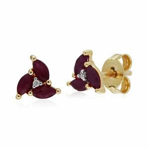 【送料無料】ネックレス イエローゴールドルビークラスタスタッドイヤリングgemondo 9ct yellow gold ruby marquise cluster stud earrings