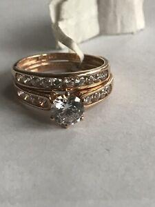 【送料無料】ネックレス ローズゴールドサイズ9ct rose gold bridal set cz size n