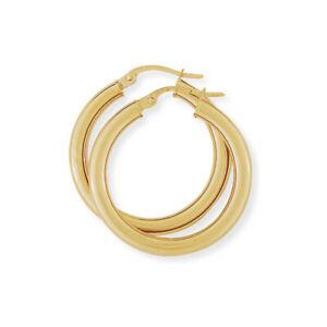 【送料無料】ネックレス レディースゴールドmmゲージクラシックプレーンフープイヤリングladies 9ct gold 3mm gauge classic plain hoop earrings 25mm