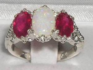 【送料無料】ネックレス ビクトリアソリッドスターリングシルバーオパールルビーリングvictorian design solid english sterling silver natural large opal amp; ruby ring