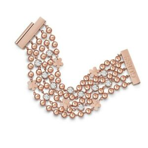 【送料無料】ネックレス ローズゴールドフラワークリスタルチェーンブレスレットguess multi row rose gold flower crystal chain bracelet ubb78138l