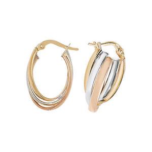 【送料無料】ネックレス イエローホワイトアンプローズゴールドフープイヤリング 9ct yellow, white amp; rose gold hoop earrings