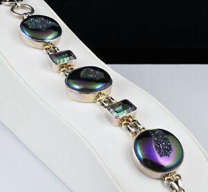 【送料無料】ネックレス スターリングシルバーウィンドウミスティックトパーズブレスレットbeautiful sterling silver rainbow window druzy amp; mystic topaz chunky bracelet