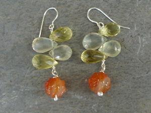 【送料無料】ネックレス イアリング925クオーツレモンearrings silver 925,prehnites, quartz lemon and cornelian