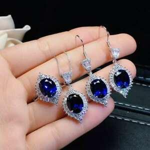 【送料無料】ネックレス サファイア925スターリングペンダントイアリングセットcertified natural sapphire 925 sterling silver pendant earrings ring set gifts
