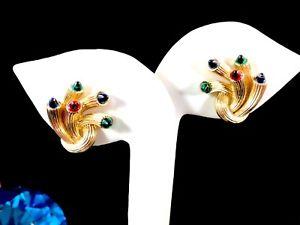 【送料無料】ネックレス クリスマスライトイヤリング1955 crown trifari jeweled embers christmas lights mulicolored clip earrings