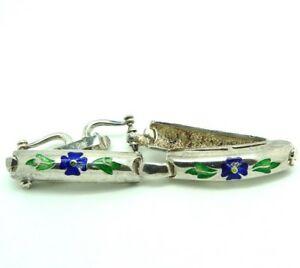 【送料無料】ネックレス ビンテージブレスレットイタリアエナメルシルバーソリッドvintage bracelet 60s silver solid 800 made in italy enamelled