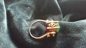 【送料無料】ネックレス シルバーエメラルドルビーリングanique silver brass copper emerald ruby paste ring turning