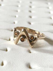【送料無料】ネックレス ゴールドシトリンリングunusual 9ct gold citrine ring