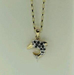 <title>送料無料 在庫一掃 ネックレス 9ctイェローゴールドサファイアイルカペンダントチェーン9ct yellow gold sapphire dolphin pendant and chain</title>