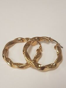 <title>定番から日本未入荷 送料無料 ネックレス ゴールドツイストフープイヤリング1 beautiful 9ct gold hollow twisted patterned hoop earrings</title>