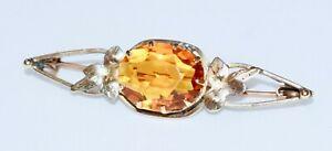 再再販 送料無料 ネックレス アンティークオーストラリアktゴールドシトリンブローチピンexquisite antique australian 9kt gold natural サービス honey 5ct brooch citrine pin gem