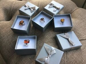 <title>[正規販売店] 送料無料 ネックレス 4boxed 4 solid silver and amber rings</title>