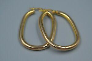 送料無料 ネックレス 豊富な品 ゴールドフープイヤリング9ct 買い取り gold hollow squared earrings hoop