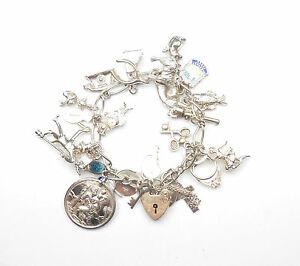 送料無料 ネックレス ビンテージブレスレットスターリングシルバーvintage charm bracelet and 出群 charms 6 silver 925 sterling 606g 売買