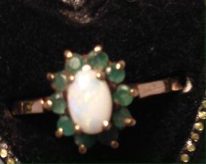 送料無料 ネックレス ヴィンテージオパールエメラルドクラスタリングサイズvintage 9 ct opal 新作販売 amp; emerald 信用 cluster size n ring 34 12 6