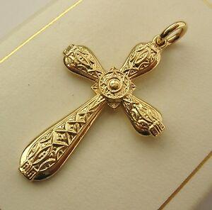 送料無料 ネックレス large genuine solid 気質アップ 9k 9ct yellow celtic cross celtickeltic pendantlarge cros 人気 keltic gold