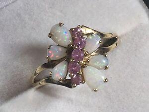 送料無料 ネックレス ゴールドレディースオパールピンクサファイアクラスタリングlarge 9ct gold ladies 公式 opal ring cluster sapphire オーバーのアイテム取扱☆ pink