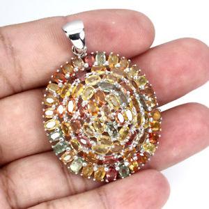 【送料無料】ネックレス スターリングシルバーサファイアクラスターペンダントsterling silver 925 genuine natural mixed colour songea sapphire cluster pendant