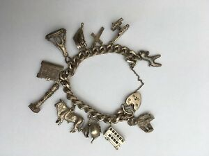 送料無料 購入 ネックレス スターリングシルバーブレスレットgenuine sterling オーバーのアイテム取扱☆ silver bracelet with 12 condition excellent charms