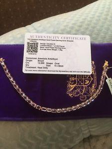 【送料無料】ネックレス アメジスト12c ametista amethyst gold plated sterling silver braselet 75