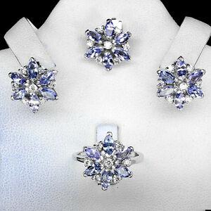 【送料無料】ネックレス スターリングシルバータンザナイトフラワーペンダントイヤリングリングsterling silver 925 genuine tanzanite floral pendant earring amp; ring sz o5 us75