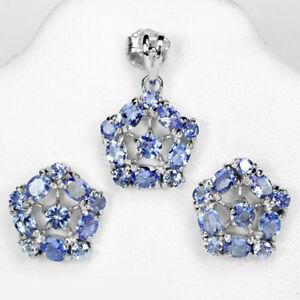 【送料無料】ネックレス スターリングシルバータンザナイトペンダントイヤリングセットsterling silver 925 genuine natural tanzanite pendant amp; earring set