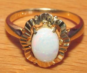<title>送料無料 ネックレス イエローゴールドカボションオパールリングサイズsecondhand 10ct yellow gold oval cabochon opal ring size 特価 m 12</title>