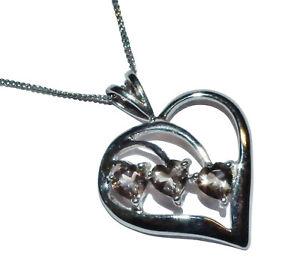 【送料無料】ネックレス ホワイトゴールドスモーキークォーツハートペンダントチェーン9ct white gold amp; smokey quartz heart pendant amp; chain