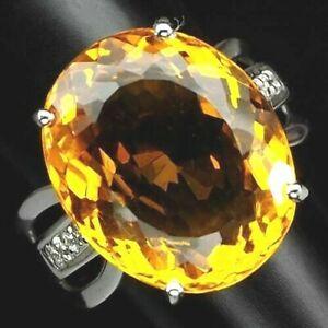 送料無料 ネックレス ゴールデンイエローシトリンメインシルバーリングgolden yellow citrine main stone 大注目 1197 silver 高品質 12 ring 925 ctsapp sz m