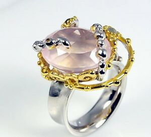 <title>送料無料 ネックレス スターリングシルバーローズピンククォーツリングゴールドプレートサイズartisan 925 sterling silver rose pink quartz ring with gold 新作通販 plate size p</title>