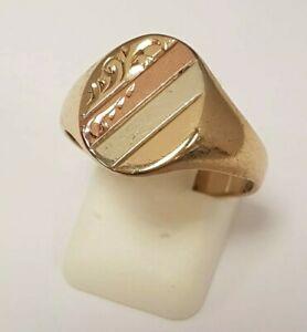 <title>送料無料 ネックレス 新着 スタイリッシュカラーゴールドフル1 stylish 9ct 3 colour gold patterned signet ring full british hallmark</title>