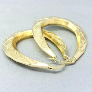 送料無料 ネックレス stunning 9ct yellow gold おトク full 保障 patterned 1299stunning loop lad looplargepatternedladies large earrings