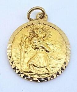 送料無料 ネックレス セントクリストファーペンダントイエローゴールド9k st christopher pendant yellow 低価格化 gold_hallmarked charm_375 現金特価