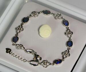 安い 送料無料 ネックレス オーストラリアオパール19cmオパールオパールダブレットチェーンaustralian 供え opal bracelet chain handmade 19cm doublet natural